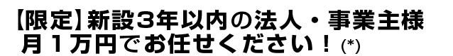 【限定】新設3年以内の法人・事業主様月1万円でお任せください!(*)